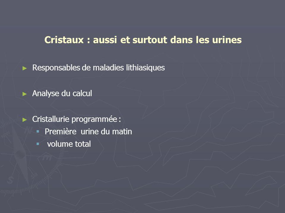 Cristaux : aussi et surtout dans les urines Responsables de maladies lithiasiques Analyse du calcul Cristallurie programmée : Première urine du matin
