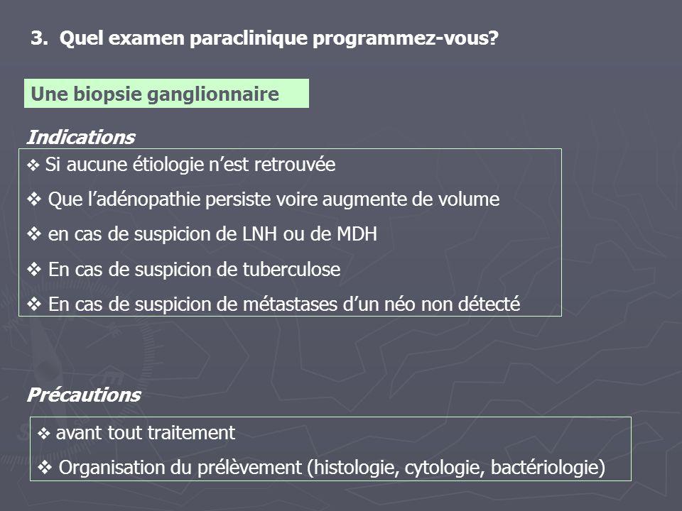 3. Quel examen paraclinique programmez-vous? Une biopsie ganglionnaire Indications Si aucune étiologie nest retrouvée Que ladénopathie persiste voire
