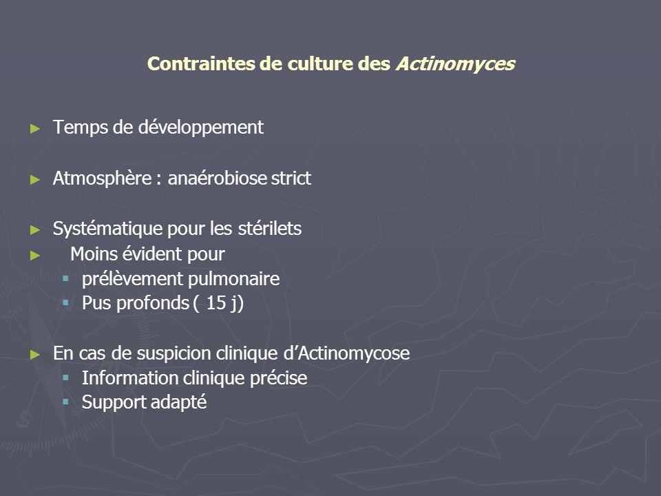 Contraintes de culture des Actinomyces Temps de développement Atmosphère : anaérobiose strict Systématique pour les stérilets Moins évident pour prélè