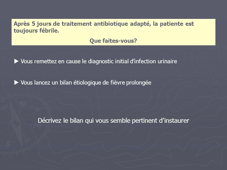 Vous remettez en cause le diagnostic initial dinfection urinaire Vous lancez un bilan étiologique de fièvre prolongée Décrivez le bilan qui vous sembl