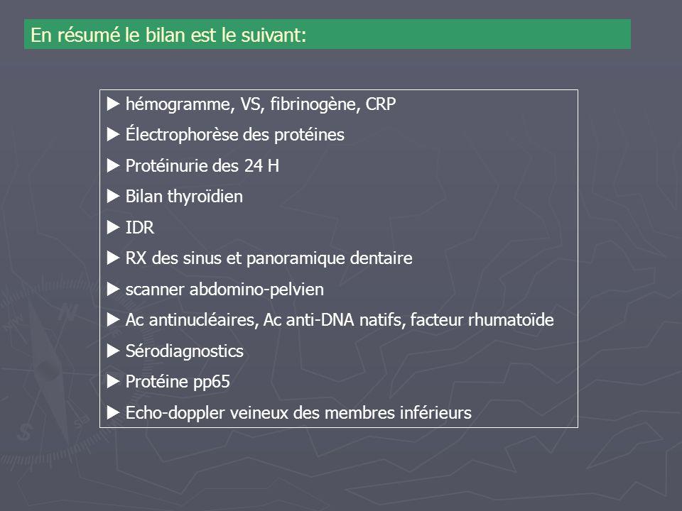 En résumé le bilan est le suivant: hémogramme, VS, fibrinogène, CRP Électrophorèse des protéines Protéinurie des 24 H Bilan thyroïdien IDR RX des sinu
