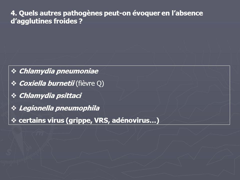4. Quels autres pathogènes peut-on évoquer en labsence dagglutines froides ? Chlamydia pneumoniae Coxiella burnetii (fièvre Q) Chlamydia psittaci Legi