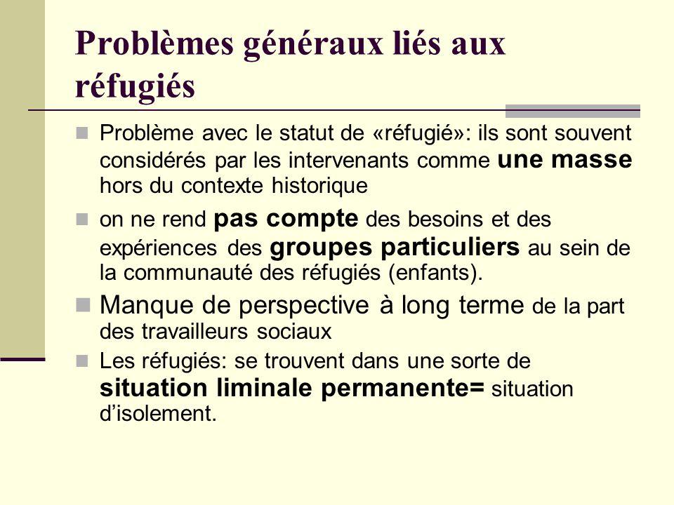 Problèmes généraux liés aux réfugiés Problème avec le statut de «réfugié»: ils sont souvent considérés par les intervenants comme une masse hors du contexte historique on ne rend pas compte des besoins et des expériences des groupes particuliers au sein de la communauté des réfugiés (enfants).