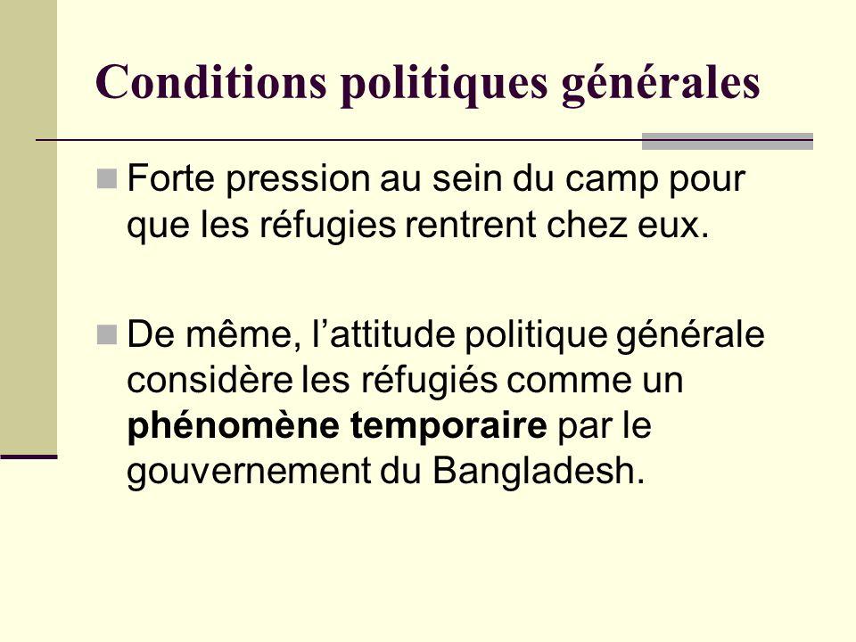 Conditions politiques générales Forte pression au sein du camp pour que les réfugies rentrent chez eux. De même, lattitude politique générale considèr