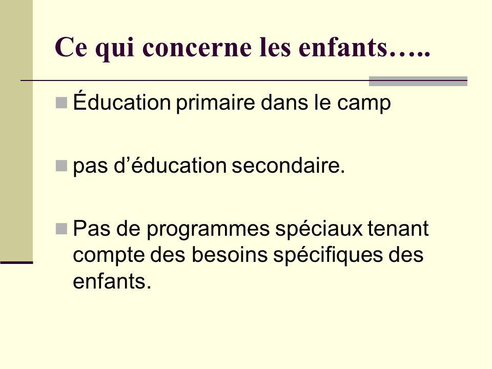 Ce qui concerne les enfants….. Éducation primaire dans le camp pas déducation secondaire. Pas de programmes spéciaux tenant compte des besoins spécifi