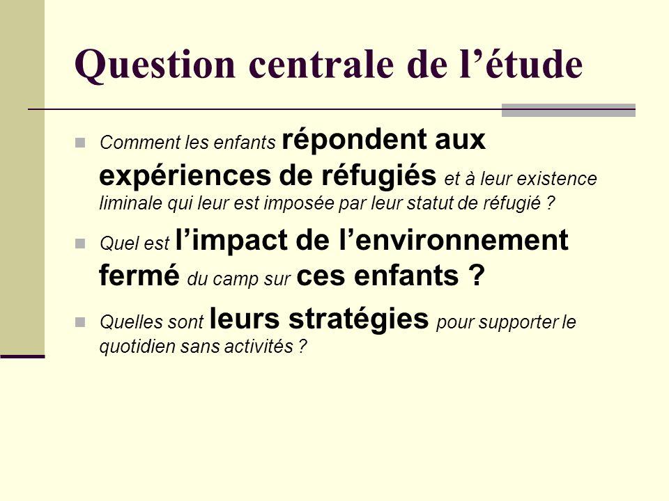 Question centrale de létude Comment les enfants répondent aux expériences de réfugiés et à leur existence liminale qui leur est imposée par leur statut de réfugié .