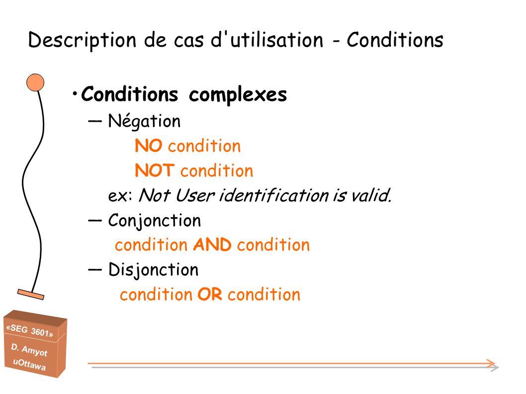«SEG 3601» D. Amyot uOttawa Description de cas d'utilisation - Conditions Conditions complexes Négation NO condition NOT condition ex: Not User identi