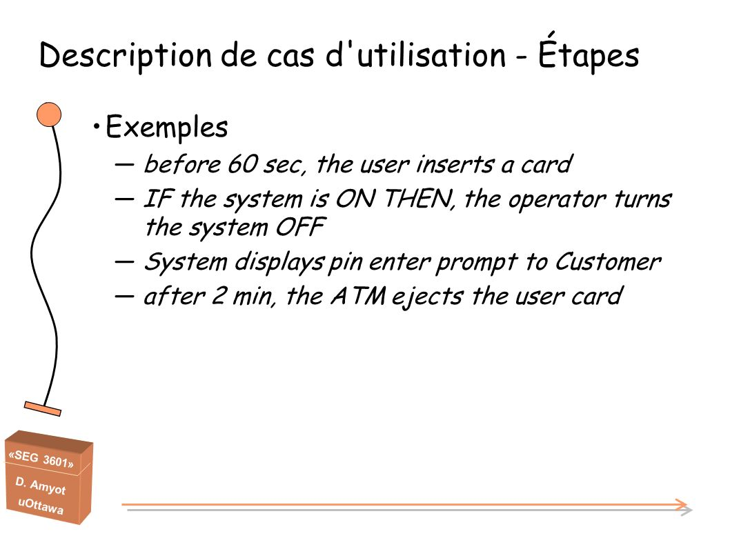«SEG 3601» D. Amyot uOttawa Exemples before 60 sec, the user inserts a card IF the system is ON THEN, the operator turns the system OFF System display