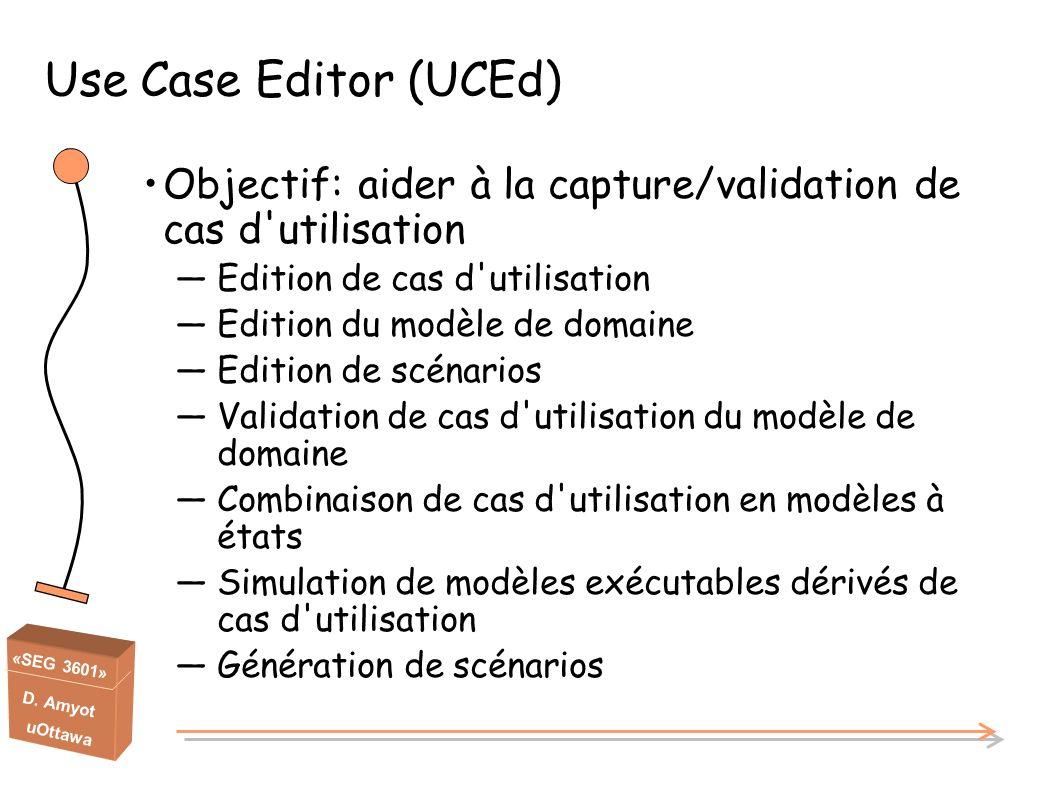 «SEG 3601» D. Amyot uOttawa Use Case Editor (UCEd) Objectif: aider à la capture/validation de cas d'utilisation Edition de cas d'utilisation Edition d