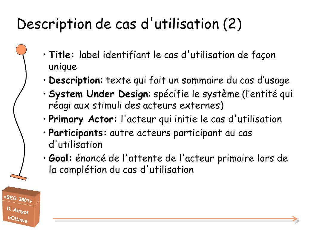 «SEG 3601» D. Amyot uOttawa Title: label identifiant le cas d'utilisation de façon unique Description: texte qui fait un sommaire du cas dusage System