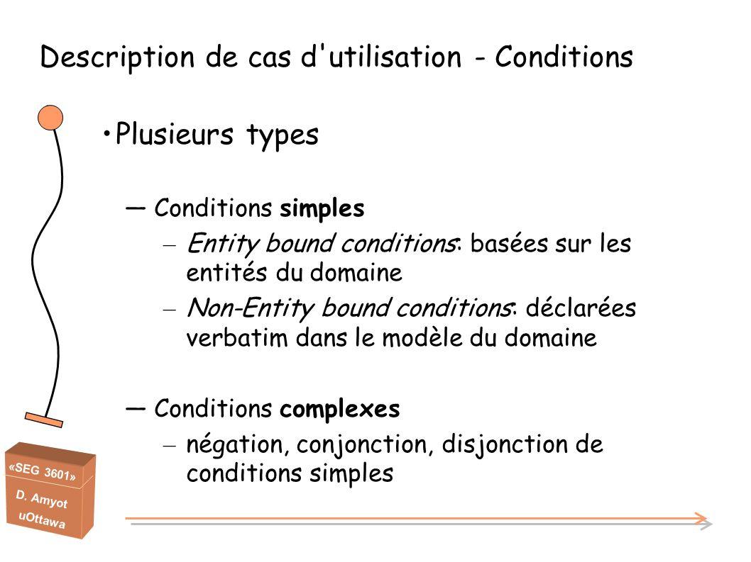 «SEG 3601» D. Amyot uOttawa Description de cas d'utilisation - Conditions Plusieurs types Conditions simples – Entity bound conditions: basées sur les
