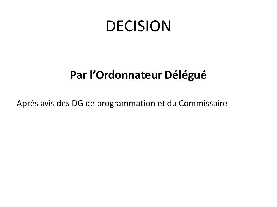 DECISION Par lOrdonnateur Délégué Après avis des DG de programmation et du Commissaire