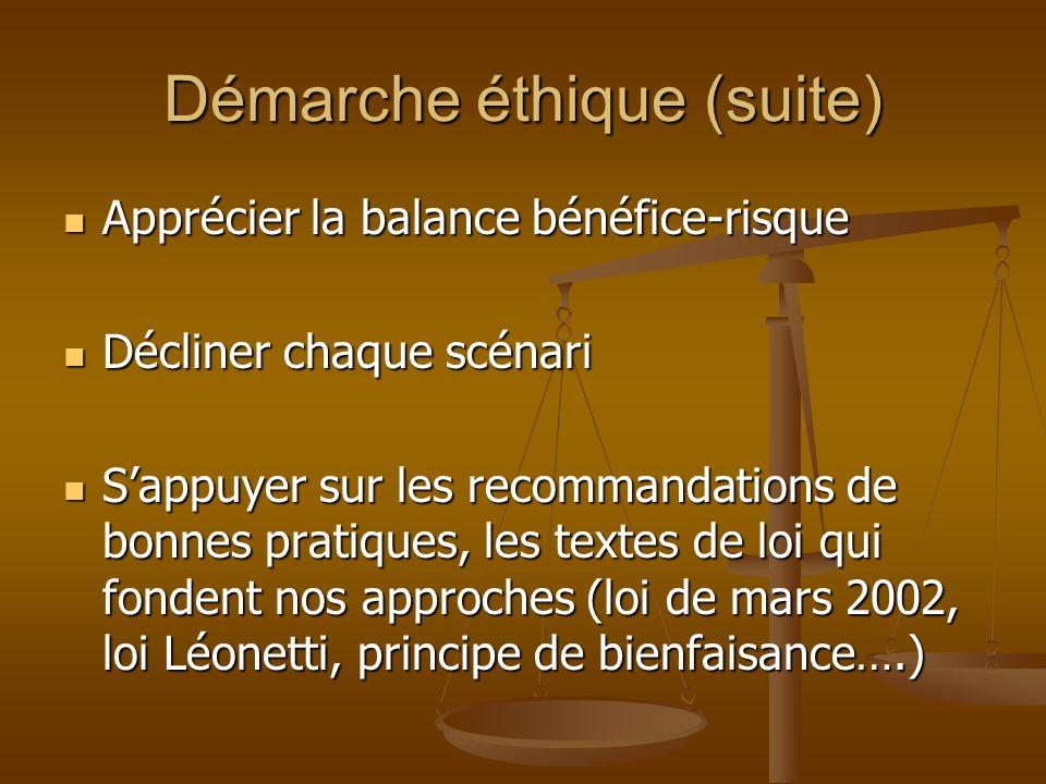 Démarche éthique (suite) Apprécier la balance bénéfice-risque Apprécier la balance bénéfice-risque Décliner chaque scénari Décliner chaque scénari Sap