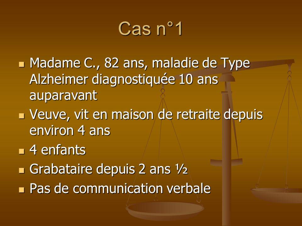 Cas n°1 Madame C., 82 ans, maladie de Type Alzheimer diagnostiquée 10 ans auparavant Madame C., 82 ans, maladie de Type Alzheimer diagnostiquée 10 ans
