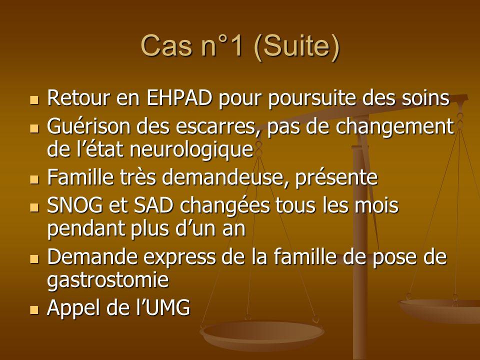 Cas n°1 (Suite) Retour en EHPAD pour poursuite des soins Retour en EHPAD pour poursuite des soins Guérison des escarres, pas de changement de létat ne