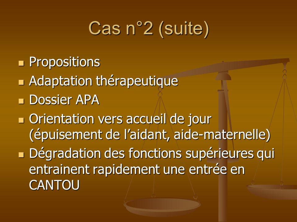 Cas n°2 (suite) Propositions Propositions Adaptation thérapeutique Adaptation thérapeutique Dossier APA Dossier APA Orientation vers accueil de jour (