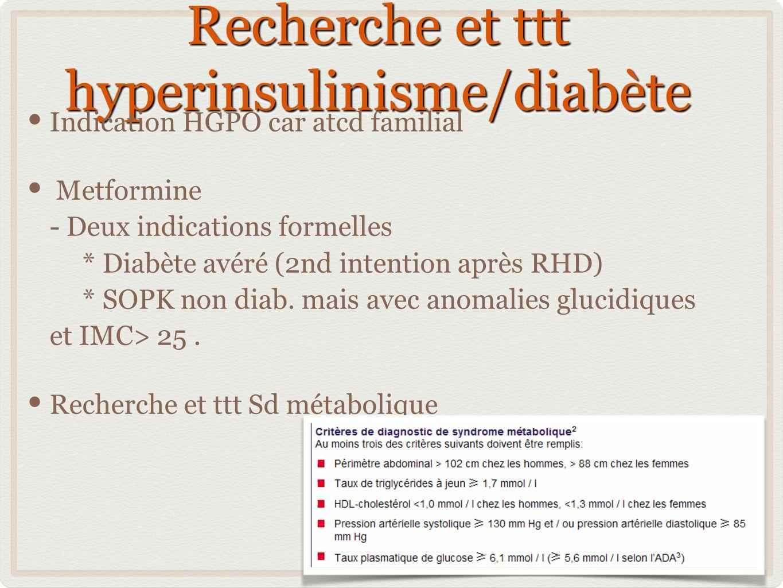 Recherche et ttt hyperinsulinisme/diabète Indication HGPO car atcd familial Metformine - Deux indications formelles * Diabète avéré (2nd intention apr