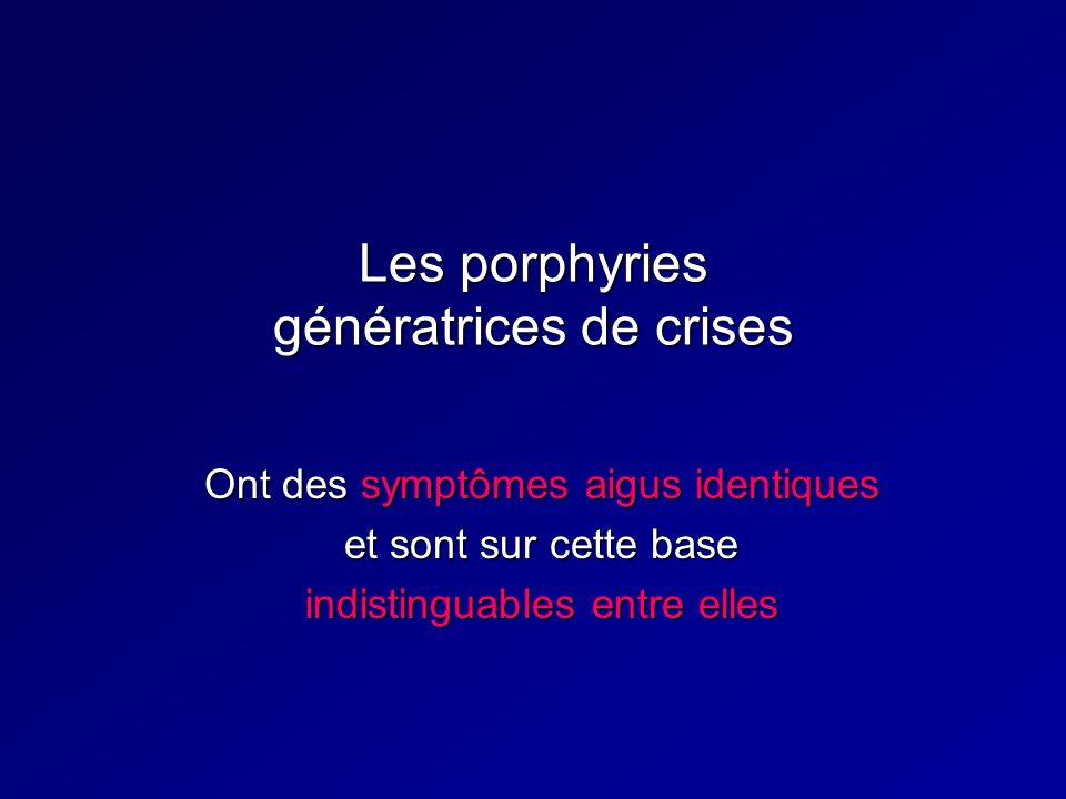 Les porphyries génératrices de crises Ont des symptômes aigus identiques et sont sur cette base indistinguables entre elles