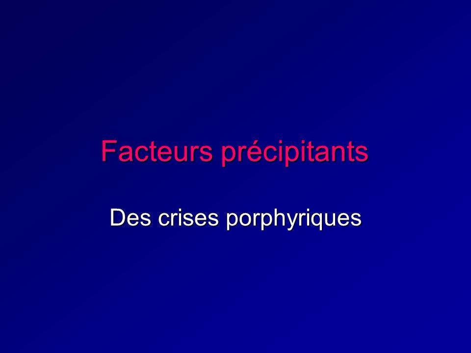 Facteurs précipitants Des crises porphyriques