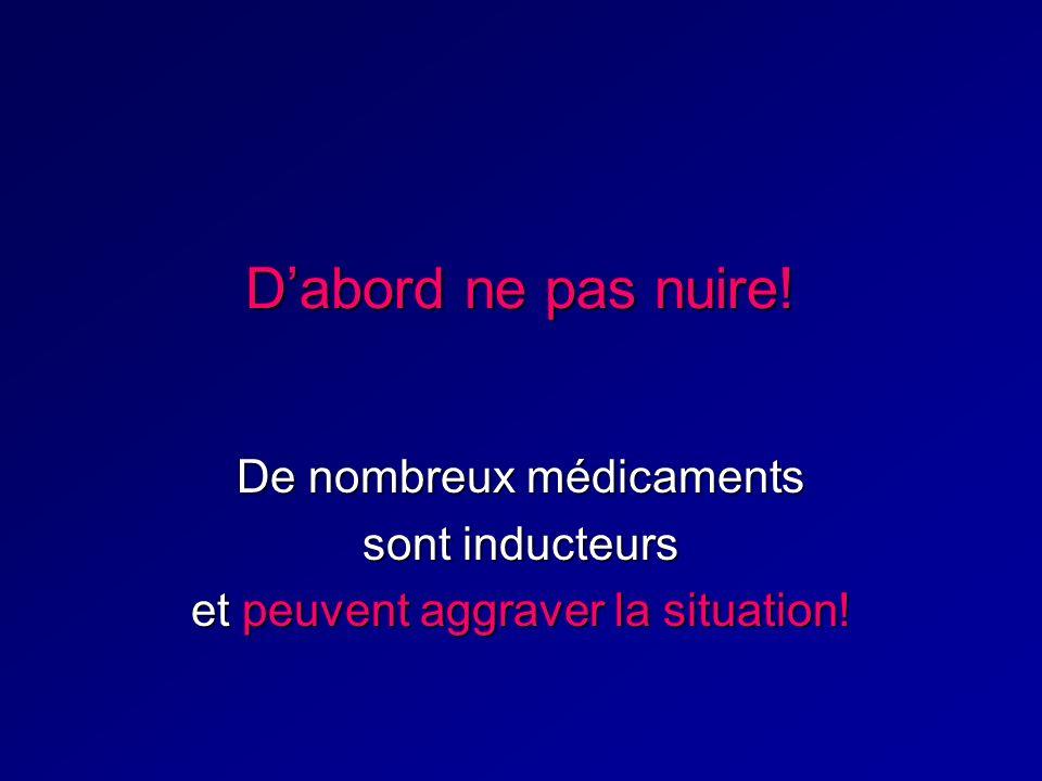 Dabord ne pas nuire! De nombreux médicaments sont inducteurs et peuvent aggraver la situation!