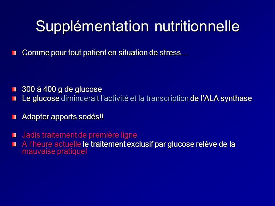 Supplémentation nutritionnelle Comme pour tout patient en situation de stress… 300 à 400 g de glucose Le glucose diminuerait lactivité et la transcription de lALA synthase Adapter apports sodés!.