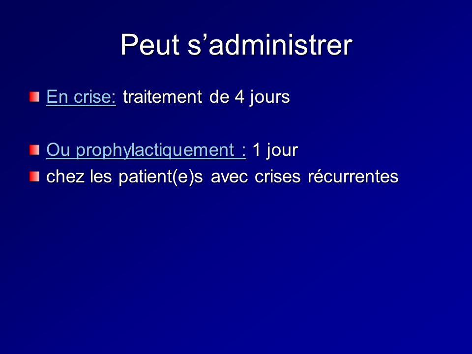Peut sadministrer En crise: traitement de 4 jours Ou prophylactiquement : 1 jour chez les patient(e)s avec crises récurrentes