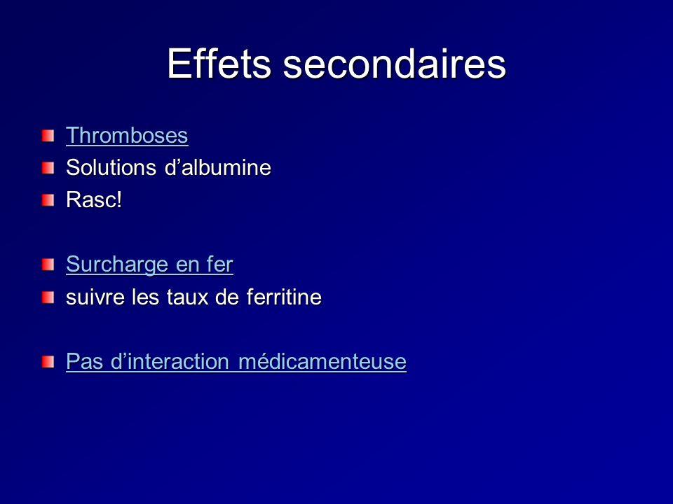Effets secondaires Thromboses Solutions dalbumine Rasc! Surcharge en fer suivre les taux de ferritine Pas dinteraction médicamenteuse