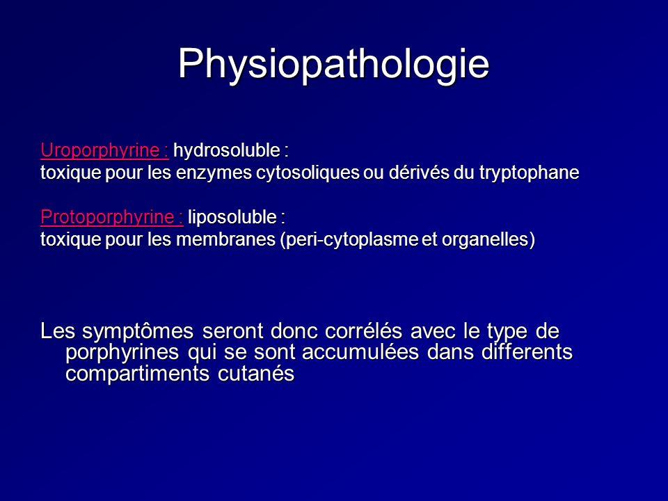 Physiopathologie Uroporphyrine : hydrosoluble : toxique pour les enzymes cytosoliques ou dérivés du tryptophane Protoporphyrine : liposoluble : toxique pour les membranes (peri-cytoplasme et organelles) Les symptômes seront donc corrélés avec le type de porphyrines qui se sont accumulées dans differents compartiments cutanés