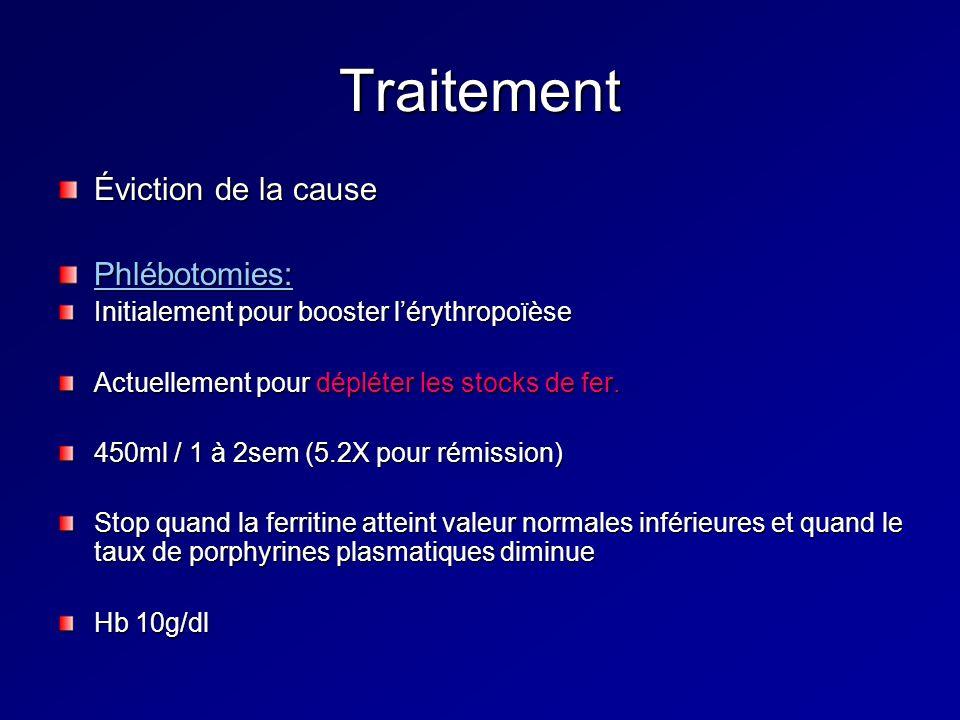 Traitement Éviction de la cause Phlébotomies: Initialement pour booster lérythropoïèse Actuellement pour dépléter les stocks de fer. 450ml / 1 à 2sem