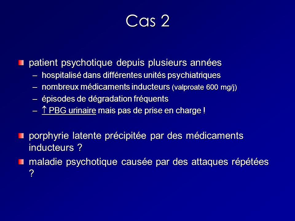 Cas 2 patient psychotique depuis plusieurs années –hospitalisé dans différentes unités psychiatriques –nombreux médicaments inducteurs (valproate 600 mg/j) –épisodes de dégradation fréquents – PBG urinaire mais pas de prise en charge .