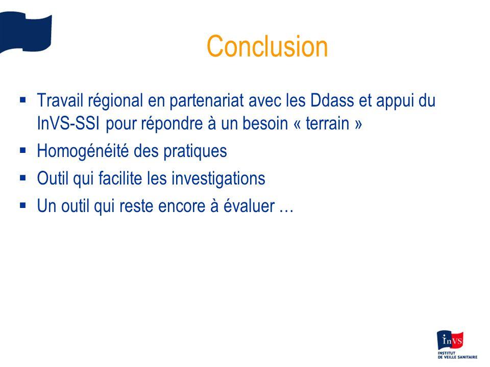 Conclusion Travail régional en partenariat avec les Ddass et appui du InVS-SSI pour répondre à un besoin « terrain » Homogénéité des pratiques Outil q