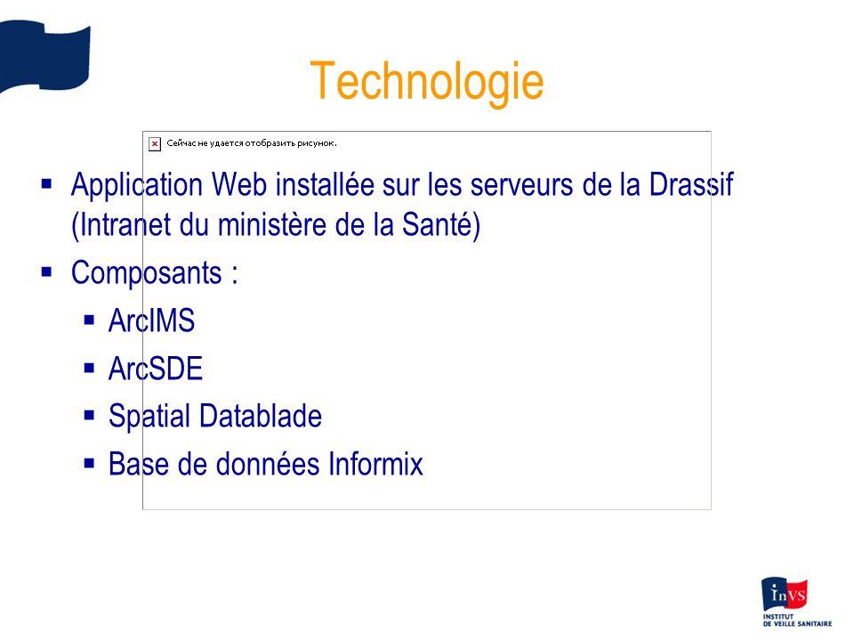 Technologie Application Web installée sur les serveurs de la Drassif (Intranet du ministère de la Santé) Composants : ArcIMS ArcSDE Spatial Datablade