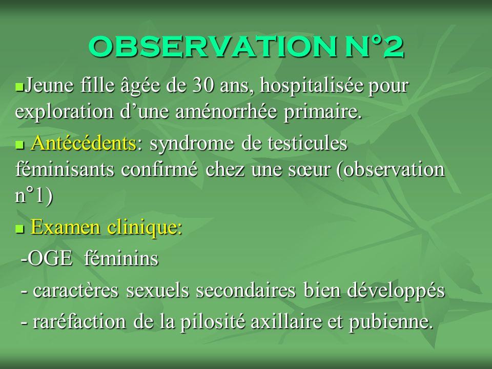 OBSERVATION N°2 Jeune fille âgée de 30 ans, hospitalisée pour exploration dune aménorrhée primaire.