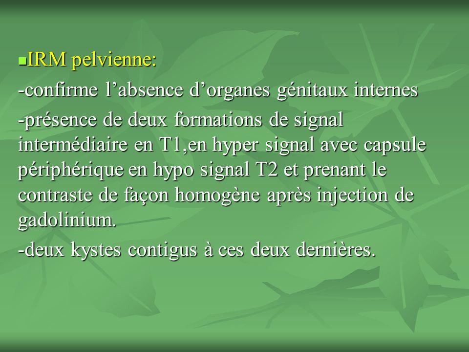 IRM pelvienne: IRM pelvienne: -confirme labsence dorganes génitaux internes -présence de deux formations de signal intermédiaire en T1,en hyper signal avec capsule périphérique en hypo signal T2 et prenant le contraste de façon homogène après injection de gadolinium.