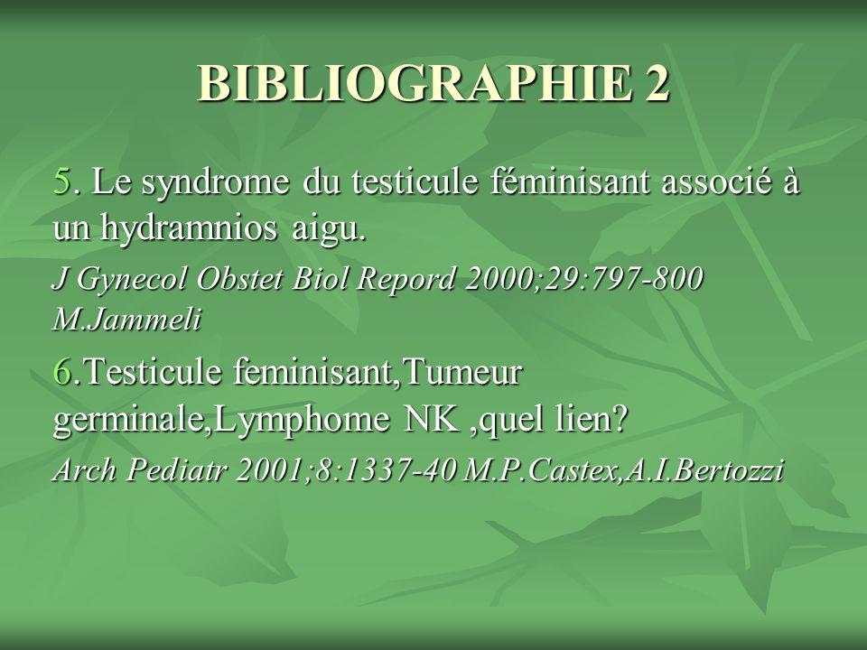 BIBLIOGRAPHIE 2 5.Le syndrome du testicule féminisant associé à un hydramnios aigu.