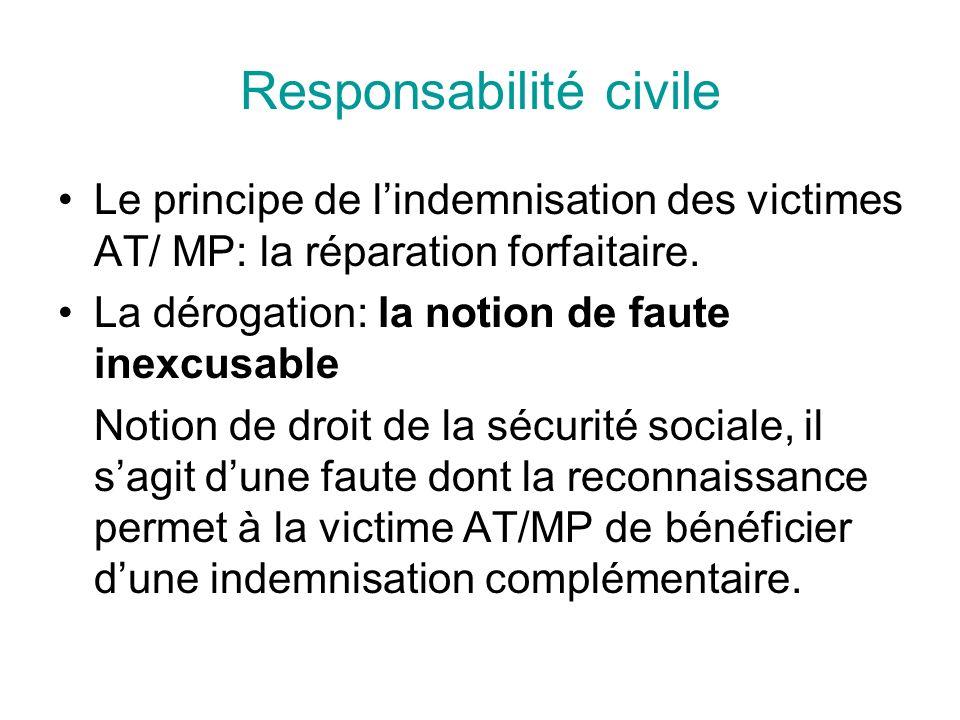 Responsabilité civile Le principe de lindemnisation des victimes AT/ MP: la réparation forfaitaire. La dérogation: la notion de faute inexcusable Noti