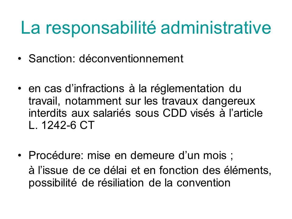 La responsabilité administrative Sanction: déconventionnement en cas dinfractions à la réglementation du travail, notamment sur les travaux dangereux