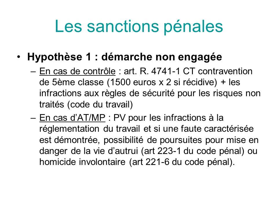 Les sanctions pénales Hypothèse 1 : démarche non engagée –En cas de contrôle : art. R. 4741-1 CT contravention de 5ème classe (1500 euros x 2 si récid
