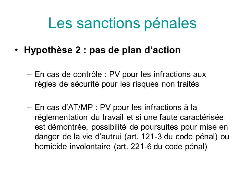 Les sanctions pénales Hypothèse 2 : pas de plan daction –En cas de contrôle : PV pour les infractions aux règles de sécurité pour les risques non trai