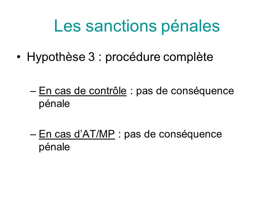 Les sanctions pénales Hypothèse 3 : procédure complète –En cas de contrôle : pas de conséquence pénale –En cas dAT/MP : pas de conséquence pénale