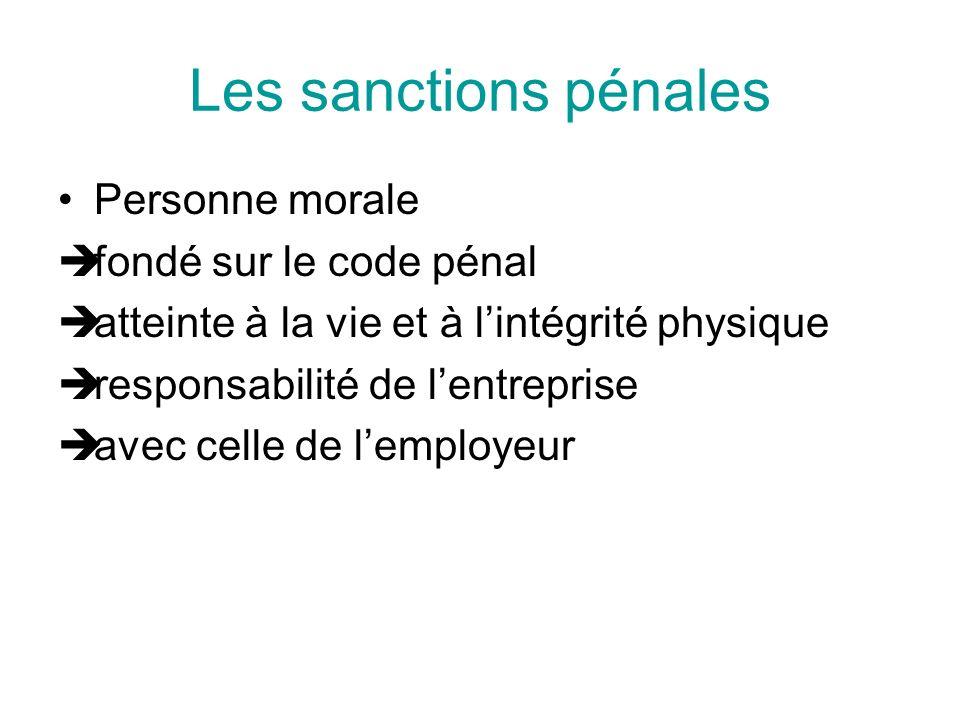 Les sanctions pénales Personne morale fondé sur le code pénal atteinte à la vie et à lintégrité physique responsabilité de lentreprise avec celle de l