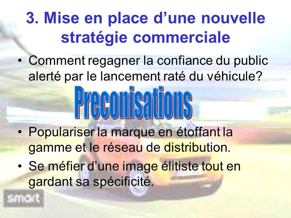 3. Mise en place dune nouvelle stratégie commerciale Comment regagner la confiance du public alerté par le lancement raté du véhicule? Populariser la