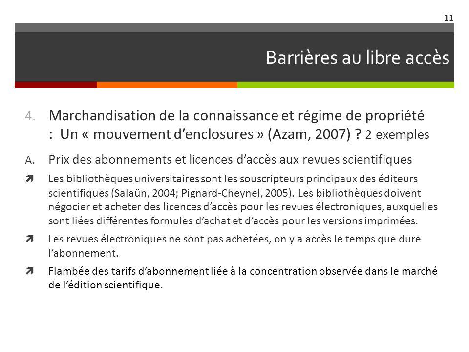 Barrières au libre accès 4.