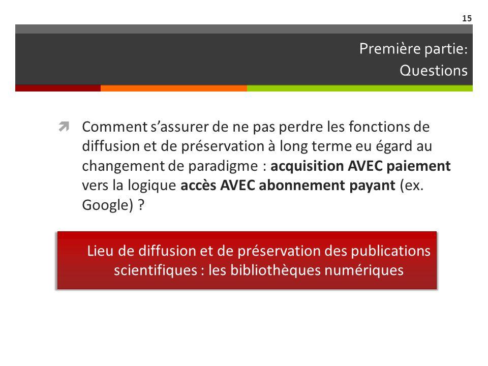 Première partie: Questions Comment sassurer de ne pas perdre les fonctions de diffusion et de préservation à long terme eu égard au changement de paradigme : acquisition AVEC paiement vers la logique accès AVEC abonnement payant (ex.