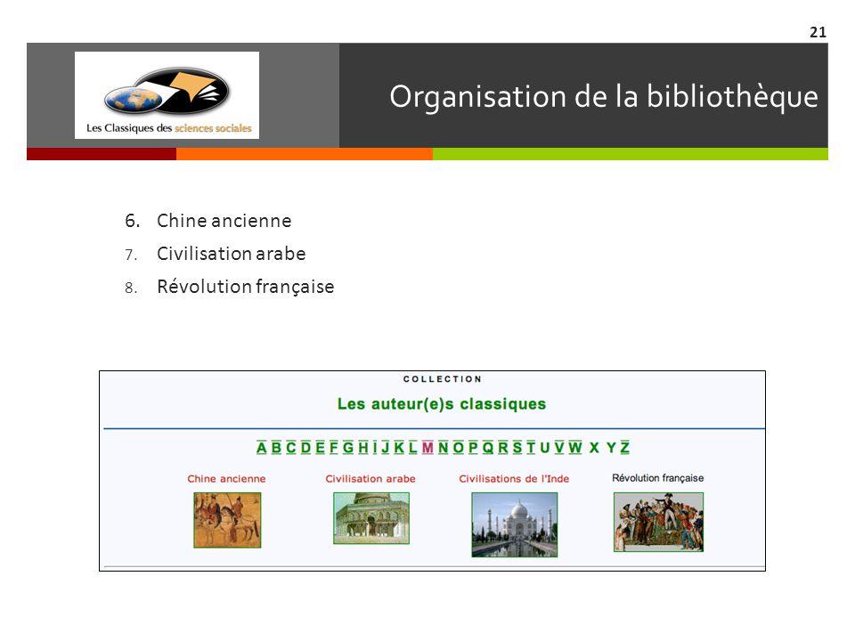 Organisation de la bibliothèque 6.Chine ancienne 7. Civilisation arabe 8. Révolution française 21