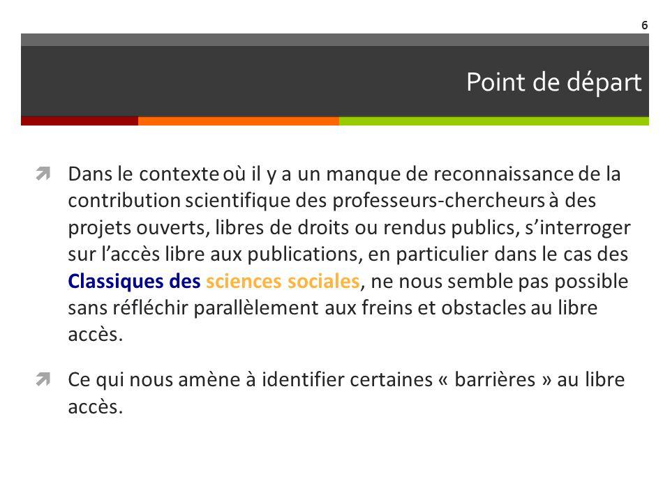 Barrières au libre accès 1.