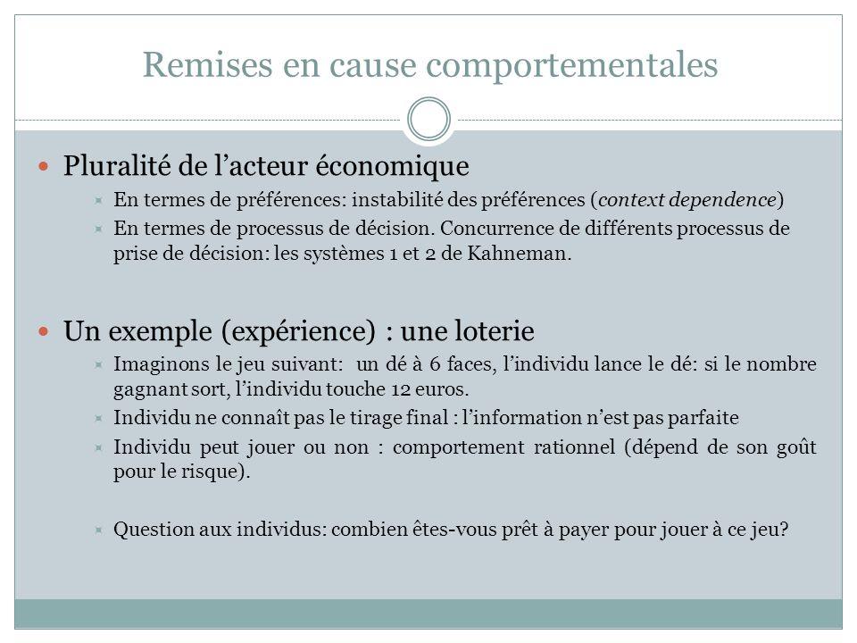 Remises en cause comportementales Pluralité de lacteur économique En termes de préférences: instabilité des préférences (context dependence) En termes