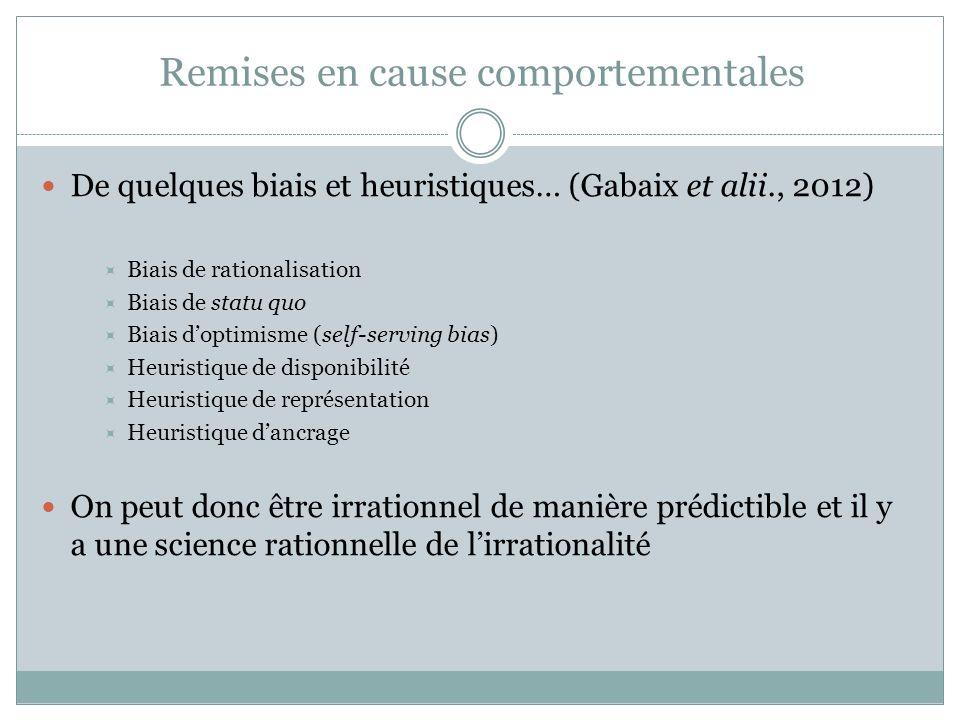 Remises en cause comportementales De quelques biais et heuristiques… (Gabaix et alii., 2012) Biais de rationalisation Biais de statu quo Biais doptimi