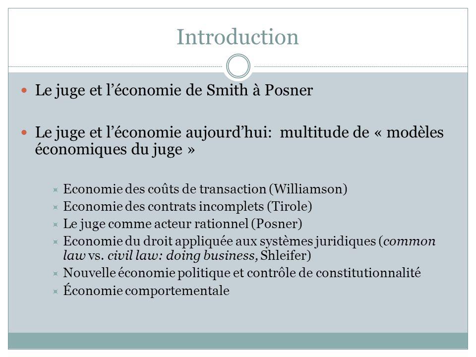 Introduction Le juge et léconomie de Smith à Posner Le juge et léconomie aujourdhui: multitude de « modèles économiques du juge » Economie des coûts d