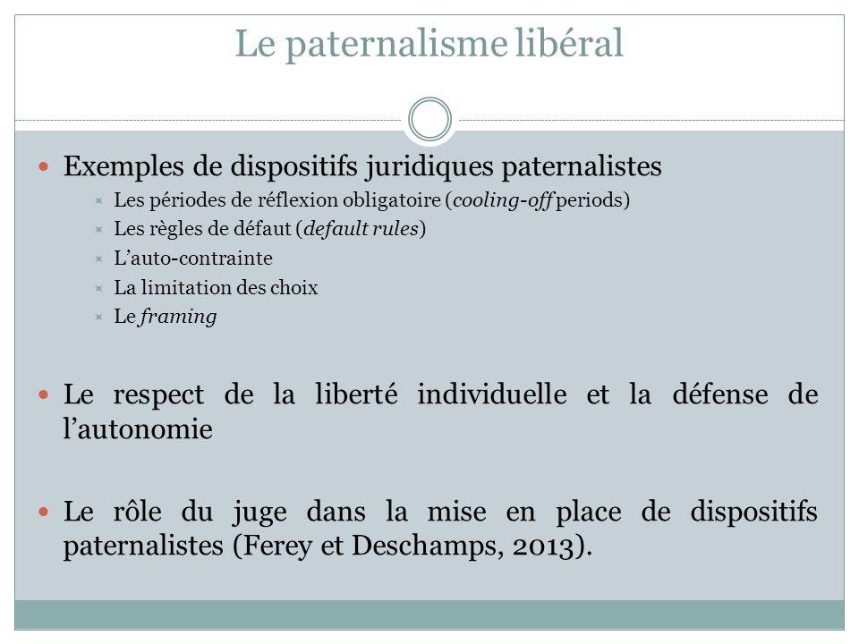 Le paternalisme libéral Exemples de dispositifs juridiques paternalistes Les périodes de réflexion obligatoire (cooling-off periods) Les règles de déf